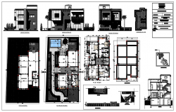 Architectural view of Villa house elevation plan dwg file