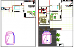 Architectural view of family plan with ground floor and car parking detail