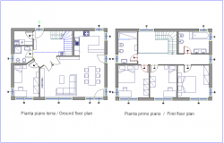 Architectural view of family plan with ground floor and first floor plan dwg file