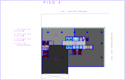 Architectural view of fifth floor plan of office dwg file