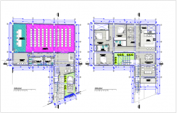 Architectural view of first and second floor plan for family housing dwg file