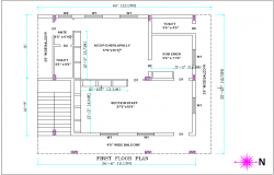 Architectural view of first floor plan general view of office dwg file