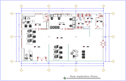 Architectural view of office plan dwg file