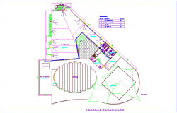 Architectural view of terrace plan for club house with pipe schedule table dwg file