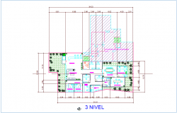 Architectural view of third floor plan for office dwg file
