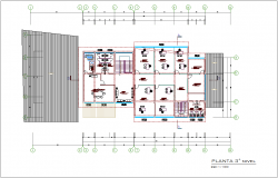 Architectural view of third floor plan of municipal building dwg file