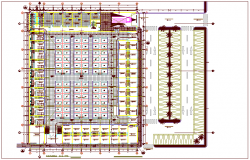 Architectural view of zonal market with first floor plan dwg file