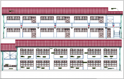 Architectural view with elevation of school dwg file