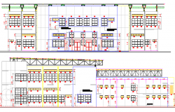 Architecture Design of Gym and Gym Weights Elevation dwg file