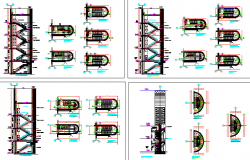Architecture Design of Stair Case Elevation of Building dwg file