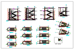 Architecture Design of Stair Cases of Building dwg file