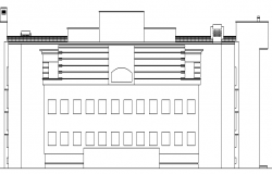 Architecture Layout of Collage Building Elevation and Section dwg file