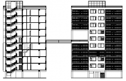 Architecture Layout of Residential Building Elevation dwg file