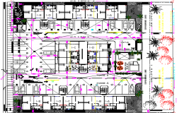 Architecture Layout of Residential Complex Elevation dwg file.