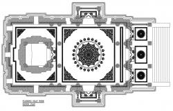 Architecture Temple Floor Design Plan AutoCAD File