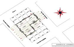 Architecture compass arrow 2d plan cad drawing