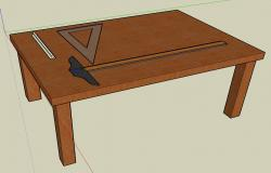 Architecture drafting table with tools 3d
