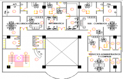 Architecture layout plan details of bank building dwg file