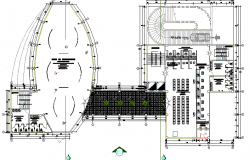 Architecture layout plan of multi-flooring finance center building dwg file
