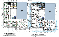 Architecture of a municipality office dwg file