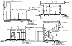 Architecture project of one level single family house dwg file