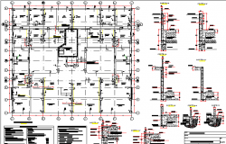 Architecture project of six flooring housing building dwg file