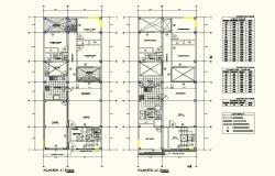 Architecture view of single family home floor plan with door and window schedule dwg file