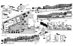 Area covering and building detail plan and sectional detail 2d view CAD structural block layout dwg file