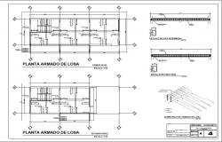 Armed concrete slab structure details of housing floors dwg file