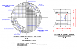 Armor position and dome of the reservoir plan autocad file
