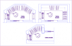 Armored cabin design with architecture view dwg file