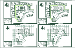 Art gallery floor  plan with historical view dwg file