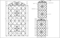 Artistic forged door design with angle of crystal shape