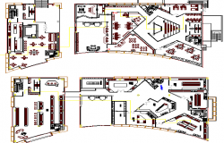 Arts education academy floor plan architecture layout dwg file