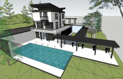 Asian contemporary house model 3d with landscape skp file