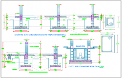 Assembly of foundation and excavation of classrooms dwg file