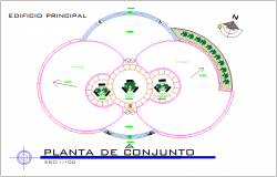 Assembly plan of admin building with architectural view dwg file