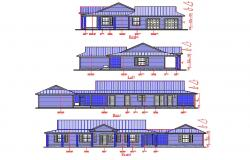Attic Bungalow Elevation CAD Drawing