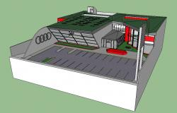 Audi agency showroom 3d building cad drawing details skp file