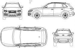 Audi q5 2008 car detail dwg file