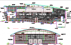 Auditorium Hall Architecture Elevation and Section Plan dwg file
