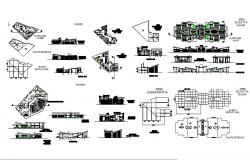 Auditorium building elevation, section, plan and auto-cad details dwg file