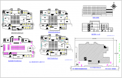 Auditorium building floor plan,site map and elevation view dwg file