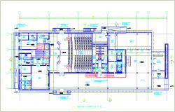 Auditorium design with ground floor plan design dwg file