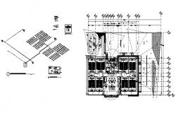 Auditorium hall distribution plan and electrical installation details dwg file