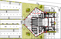 Auditorium layout plan with car parking dwg file
