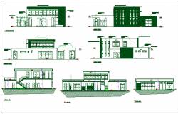 Auditorium plan elevation and section view detail dwg file