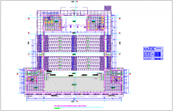 Auditorium view with first floor plan dwg file