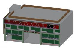 AutoCAD 3D Drawing Of Commercial Building Modern Elevation DWG File