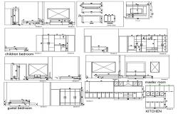 AutoCAD Drawing Of All Bed Rooms And Kitchen Elevation Design DWG File